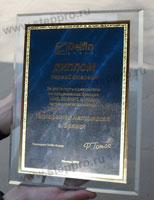 стеклянная плакетка, декоративный шильд
